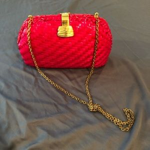 Vintage | Hot Pink Wicker Handbag with Chain Strap